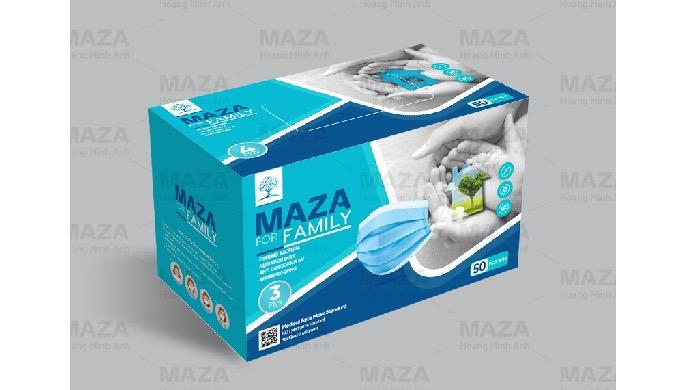 MAZA Blue Disposable Protective Mask 3 Plys CE FDA ISO Certificate (50 pcs/box)