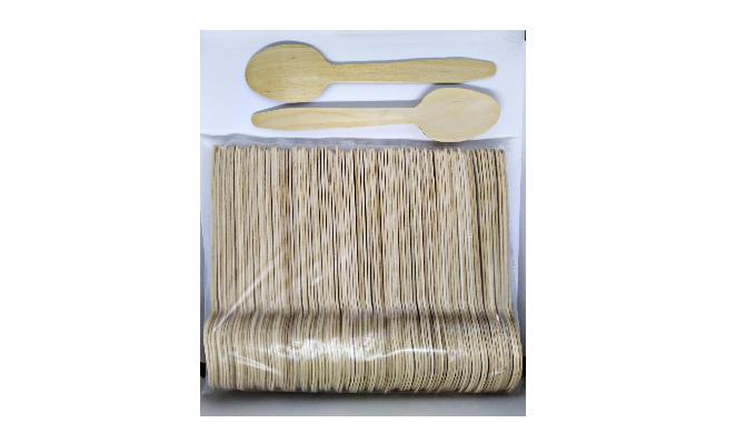 Birch veneer wood spoons set 165mm, 100 pcs/set