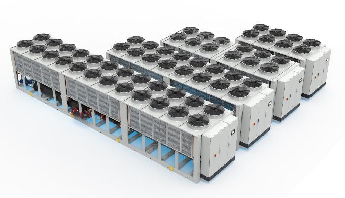 Refrigeratori di liquido adatti all' installazione in ambiente esterno, appositamente studiati per g...