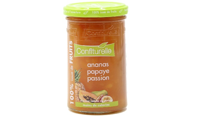 Confiture 100% issue de fruits Ananas Papaye Passion 290g