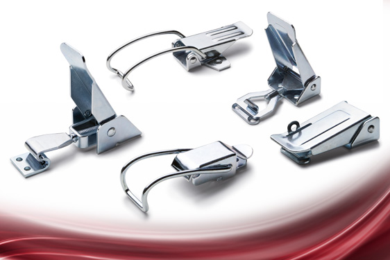 TL series hook (toggle) clamps from Elesa include adjustable flat clamps and non-adjustable spring h...