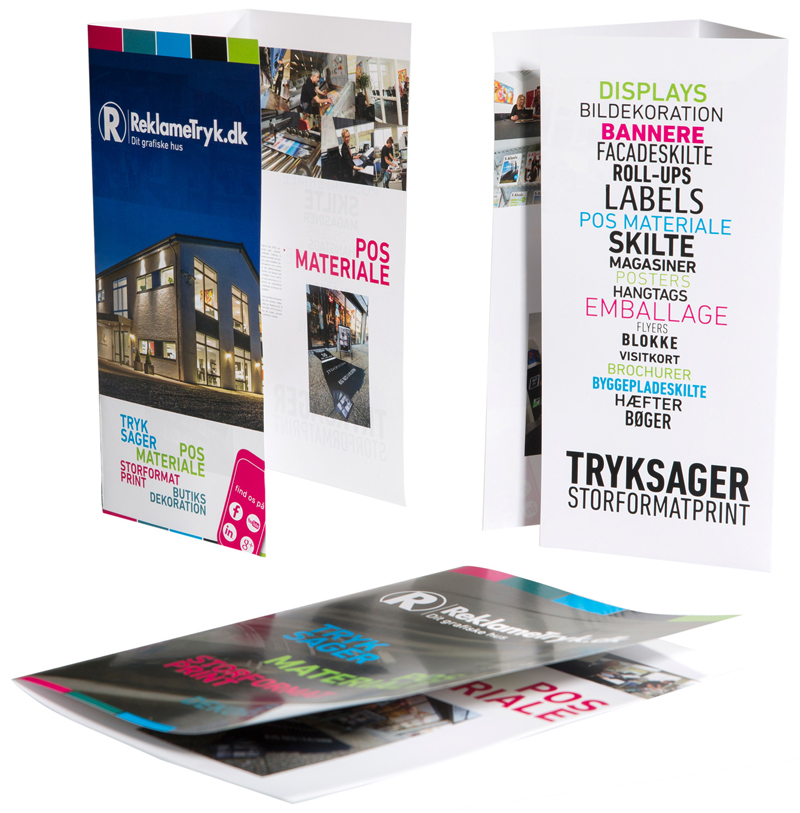 Forskellige typer af brochurer, f.eks. 4-sidet, 3-fløjet eller 4-fløjet og med forskellige fals type...