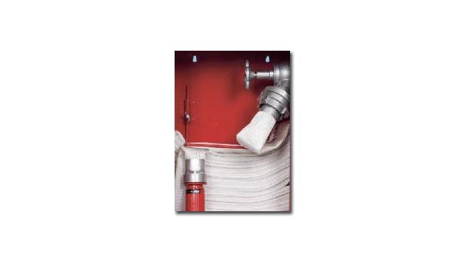 Hydranty z wężem zwiniętym w podwójny krąg i umieszczonym w koszu Rodzaje: zawieszone i wnękowe Szaf...