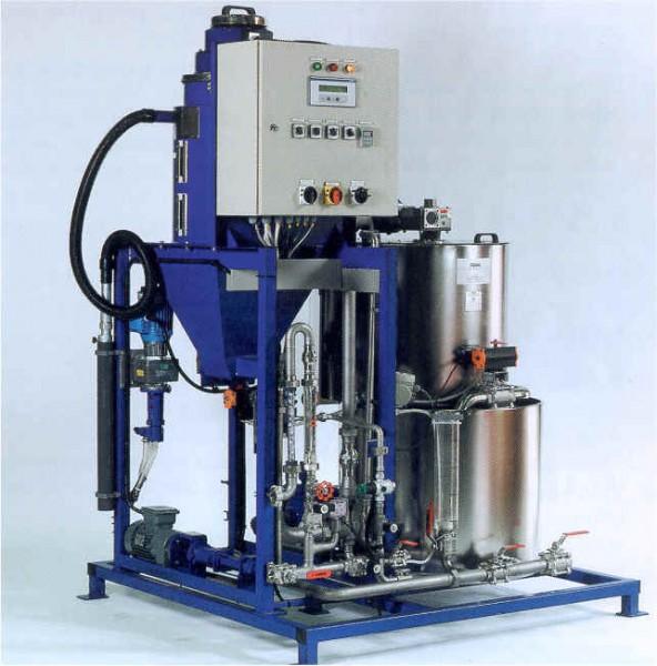 Kompletta utrustningar för satsvis upplösning och dosering av pulverformiga, granulerade polymerer. ...