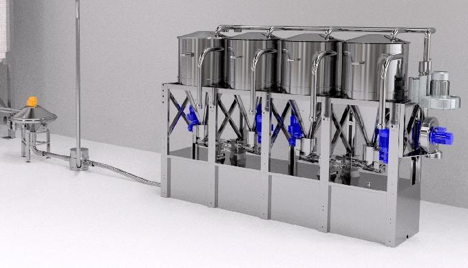 Unità modulari estendibili ed ermetiche per il dosaggio accurato di microingredienti in polvere e gr...