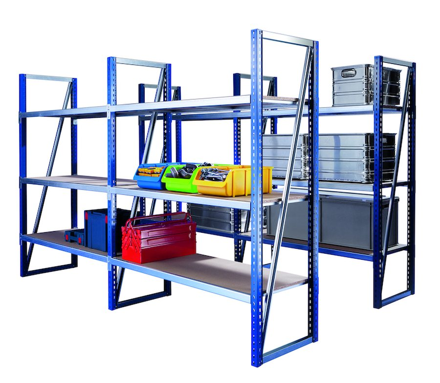 Komplettregal mit 6 FachebenenStützen: Farbig beschichtet, blau RAL 5010. Einfache Steckmontage. Fac...