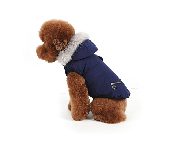 Fashionable padded jacket for pets with minimal, but stylish details that comes with a luxurious fur...