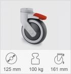 Drejeligt hjul med totalbremse, Gaffel og hjul i kunststof af høj kvalitet, drejekrans med dobbelt k...