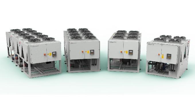 Refrigeratore di liquido per applicazioni industriali e di processo; condensati ad aria sono disponi...