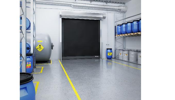 Die einzige komplette Torlösung mit ATEX Zertifizierung Die neuen Schnelllauftore der ASSA ABLOY HS-...
