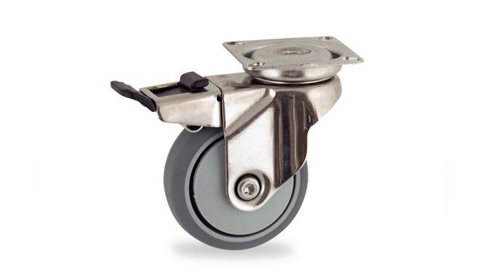 Castors with brake
