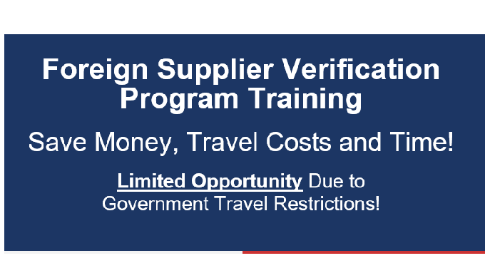 Foreign Supplier Verification Program course