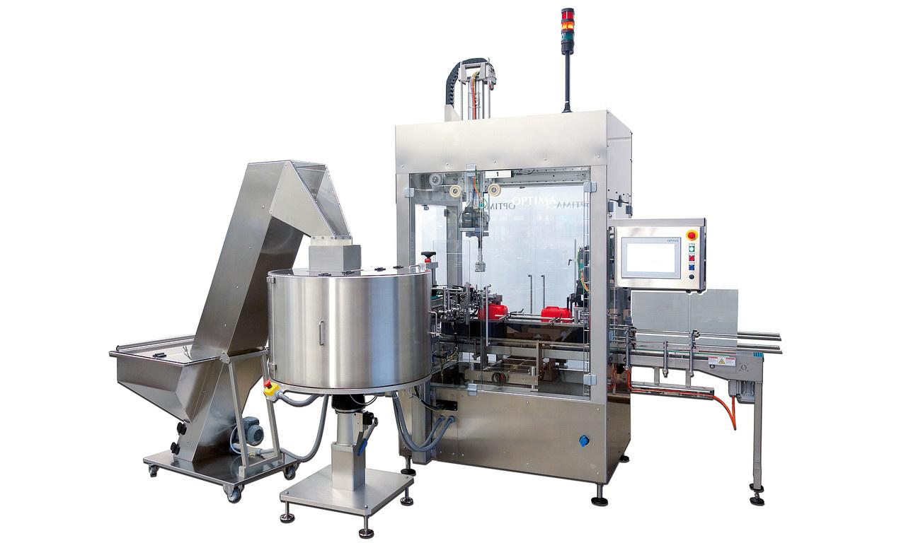Behältnisse:- Behältnis- oder Verschlusszufuhr als Schüttgut über vollautomatische Sortierung und op...