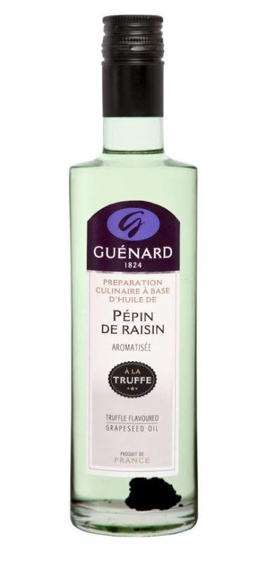 GUENARD vous propose cette gamme d'huile de Pépin de raisin aromatisé à la truffe, une saveur d'exce...