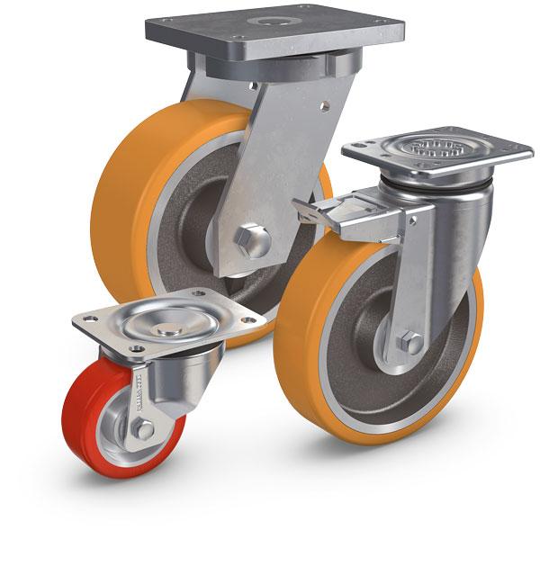 VULKOLLAN® -Räder eignen sich besonders zum Befördern und Antreiben von lasten bis zu 10 t und mehr....