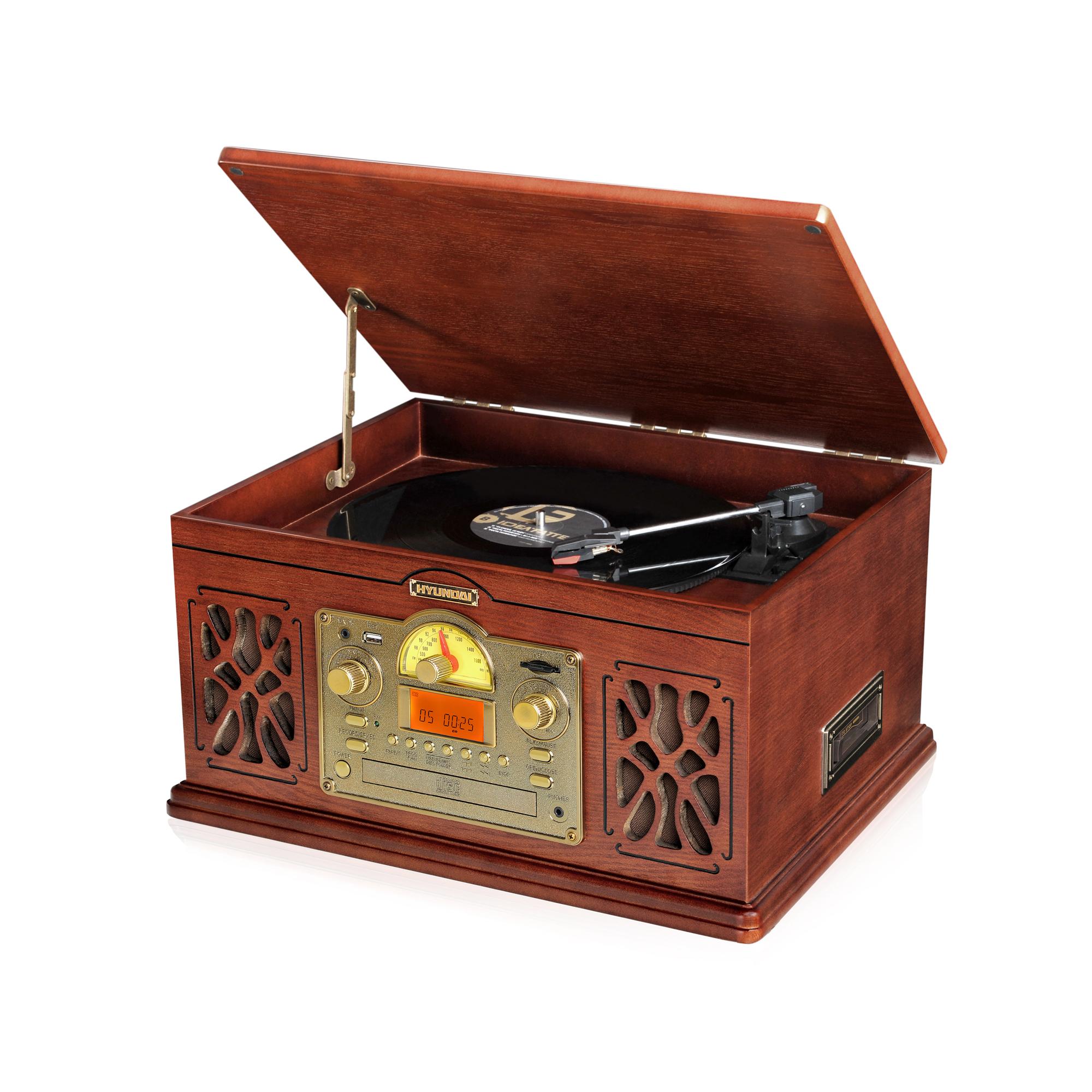 Neokoukaný vzhled retro gramofonu Hyundai 808SU Vás nadchne nejen plnohodnotným přehrávání vinylovýc...