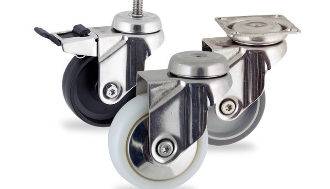 Stainless steel swivel castor 50mm castor with top plate fitting