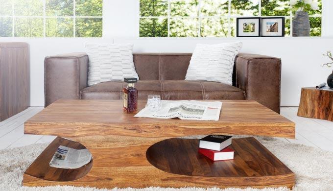 Table basse design Natacha en bois palissandre