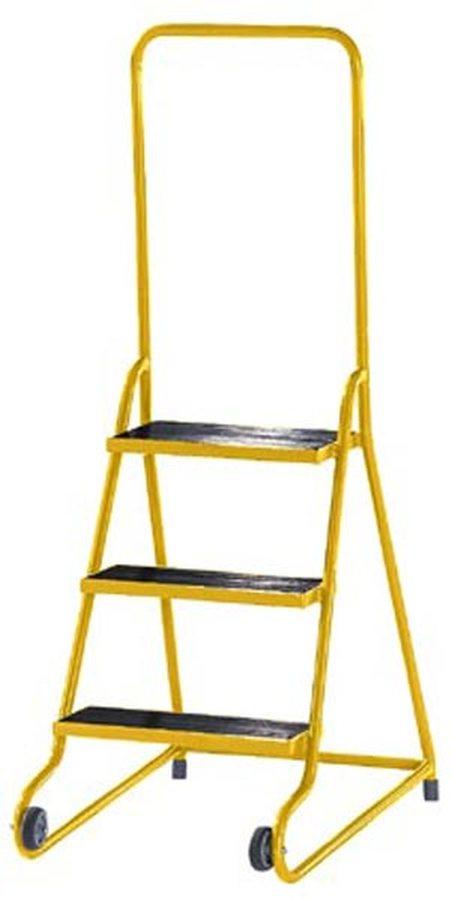 mit 3 Stufen Stabile, pulverbeschichtete Stahlrohrkonstruktion Stützteil mit zwei grauen Gummirädern...