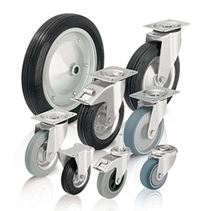 Wheels and castors with standard solid rubber tyres and rubber tread