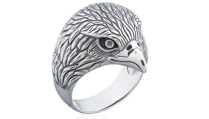 Oxidized sterling silver eagle head statement ring from wholesale silver jewelry manufacturer in Tha...