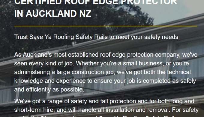 Save Ya Roofing Safety Rails is a well-established team, operating in and around Auckland. When it c...