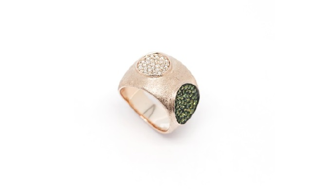 18K Rose Gold Brown Diamonds, Green Diamonds Ring