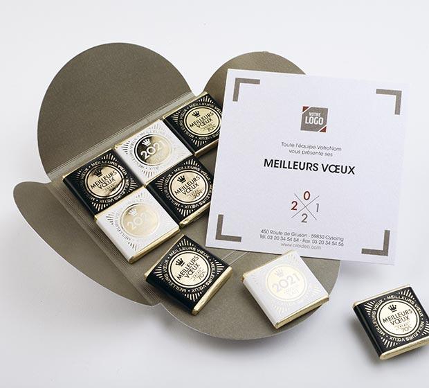 Carte de vœux chocolat 9 CHOCOLATS de CREIDEO est la carte idéale pour souhaiter les meilleurs vœux ...