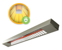 An aesthetically pleasing infrared heater suitable for terraces, conservatories or patios. Also an e...