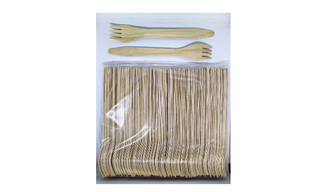 Single use wooden forks set 165 mm, 100 pcs/set
