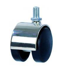 Roulette double en nylon chape acier à Tige filetée