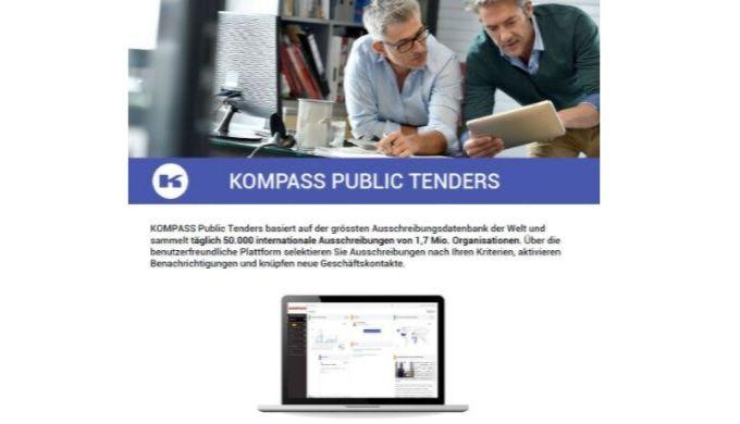 KOMPASS Public Tenders basiert auf der grössten Ausschreibungsdatenbank der Welt und sammelt täglich...
