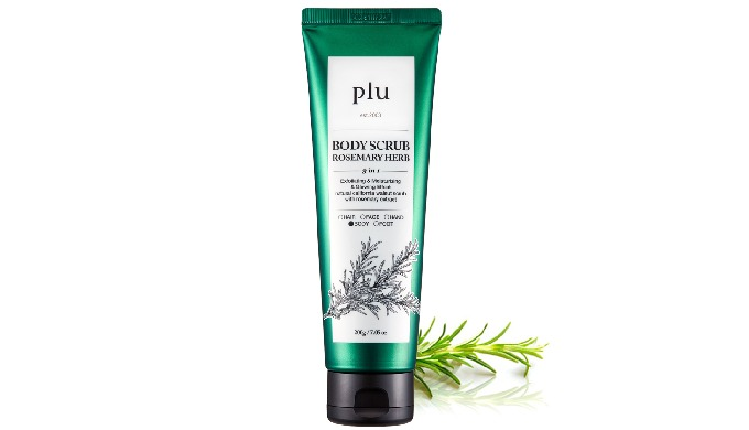 plu body scrub (white musk, berry mix, coconut, rosemary herb, pomegranate)