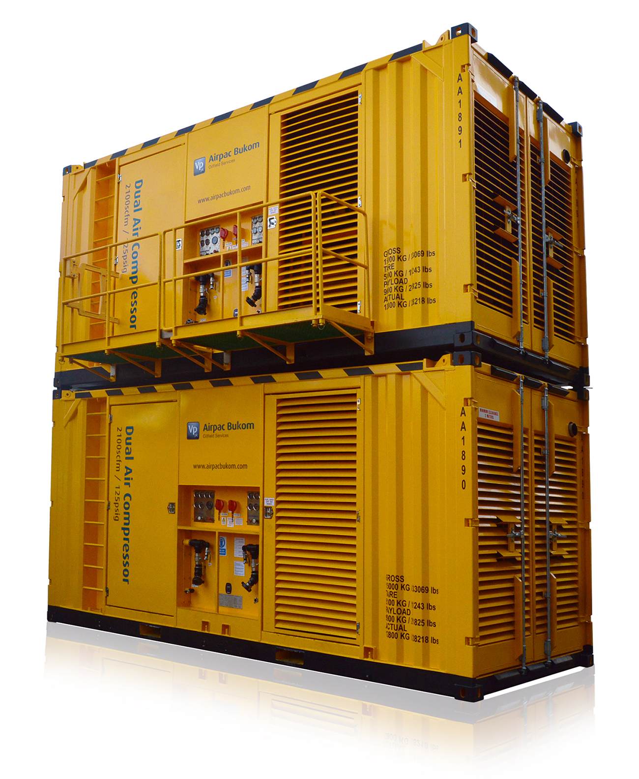 Airpac Bukom rent Zone II and Rigsafe / Safe Area Air Compressors in a wide range of pressure rating...