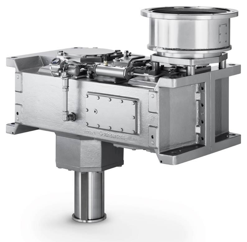 chrägverzahntes Getriebe / vertikal / für schwere Lasten / zur Abwasseraufbereitung
