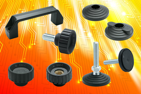 The Elesa range of ESD fluted grip knobs, levelling element bases and bridge handles in special cond...