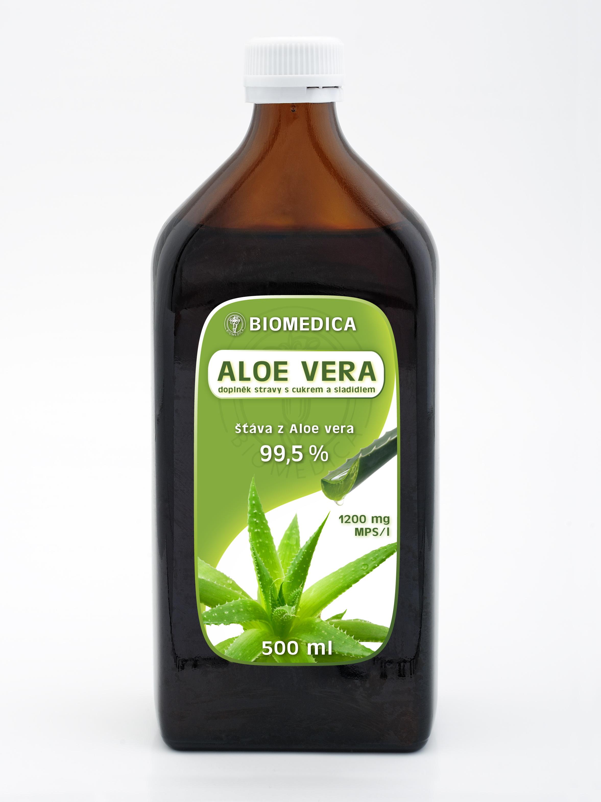 ALOE VERA BIOMEDICA Doplněk stravy Výrobek obsahuje 99,5% šťávu s malými kousky gelovité dužiny Aloe...
