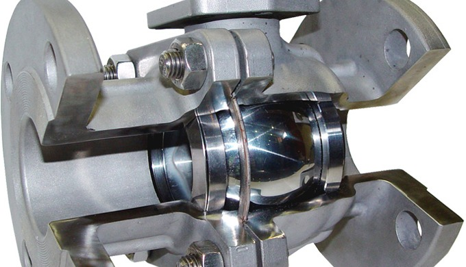 Zweiteiliger metallisch dichtender DIN- /ANSI Flanschkugelhahn PN16/40, ANSI class150-300, DIN- Baul...