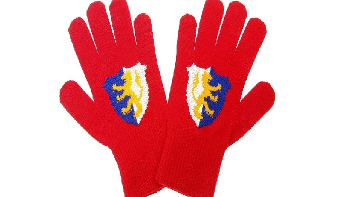 Knitted advertising gloves with logo