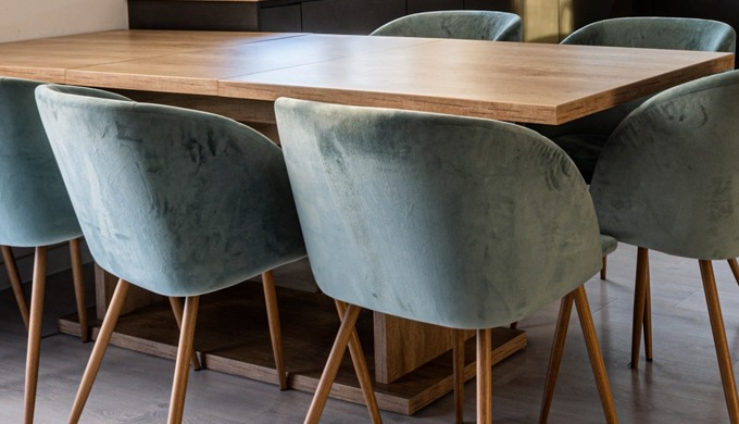 Dining Table with Dining Chairs fully upholstered, Material of Table : Alternate Core Ply post lamin...