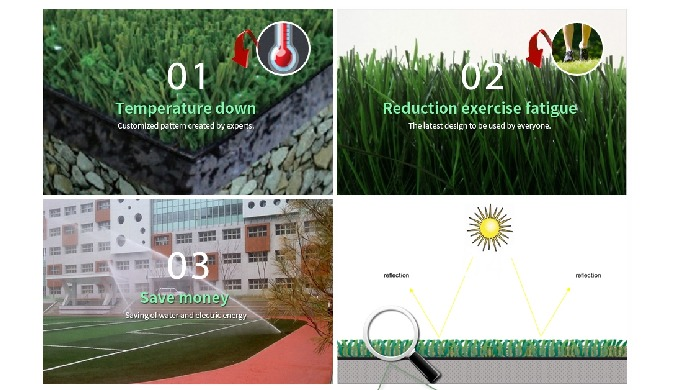 Artificial turf for Thermal Barrier Effect
