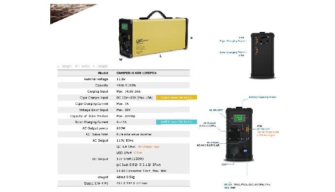 - Nominal voltage : 12.8V - Capacity : 48Ah, 614Wh - Charging input : Max. 14.6V, 24A - Cigar charge...
