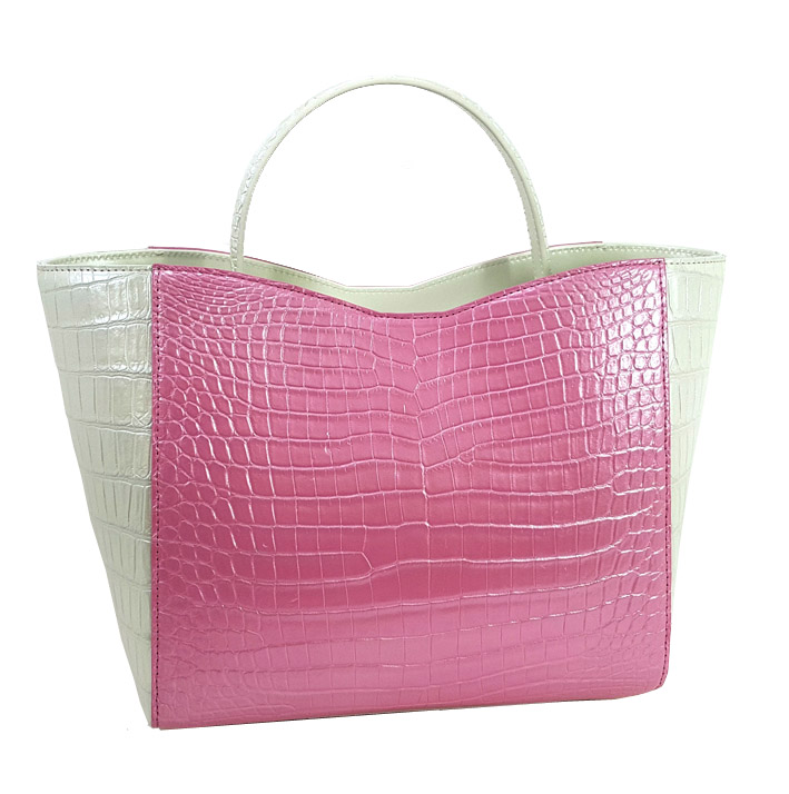 Luxury Big Handbag for Women Leather : Crocolylus Niloticus Color : Pink and White Size : 255*230*10...