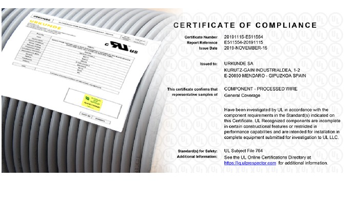 Certificación UL Processed Wire Respooled