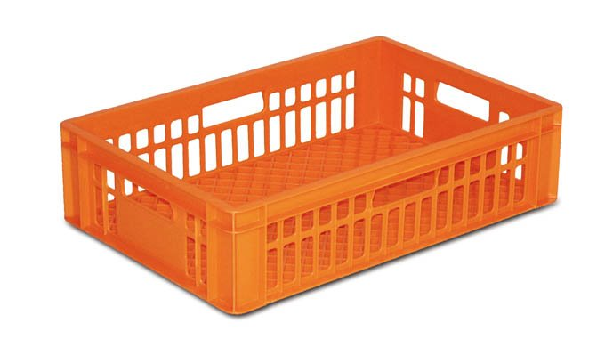 Hygienische, waschbare Stapelbehälter ideal zum Transport von frischen Backwaren.