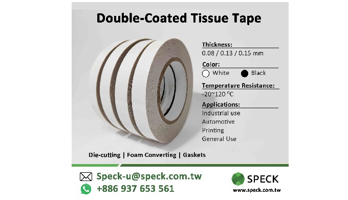 Double-Sided Tissue Tape for industrial use carrier: tissue / non woven Thickness: 0.15mm Adhesive: ...