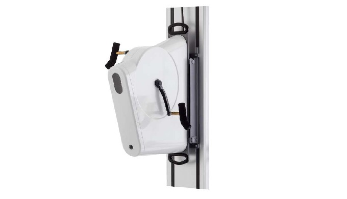 The wall fastening consists of a vertical rail with hang-up mechanism which makes it possible to mov...