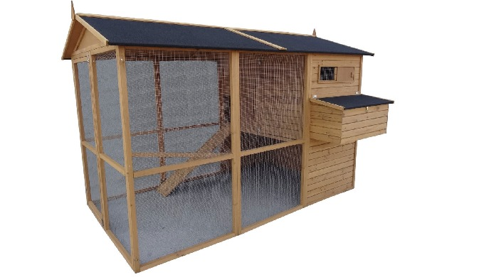 Vores hønsehus xxl er et større hønsehus beregnet til 5-8 høns. Det er bygget af fyrretræ og galvani...