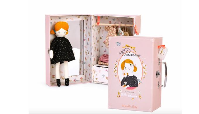 Moulin Roty dětská panenka Blanche v kufříku s oblečením pro holky.