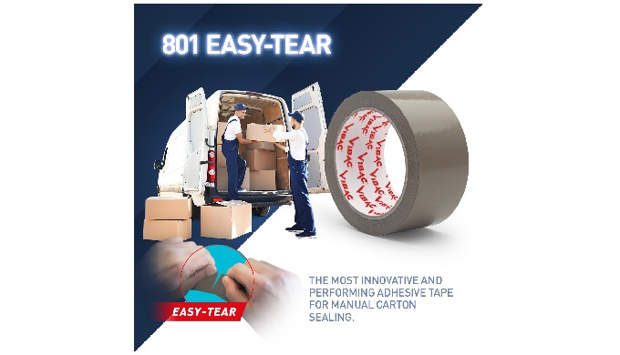 Easy-tear adhesive tape is perfect for manual applications. Thanks to the special manufacturing proc...